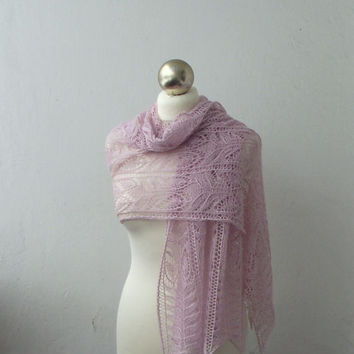 Powder Pink lace shawl, hand knitted lace stole