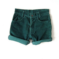 vintage Levis shorts. roll up corduroy shorts. dark green shorts.