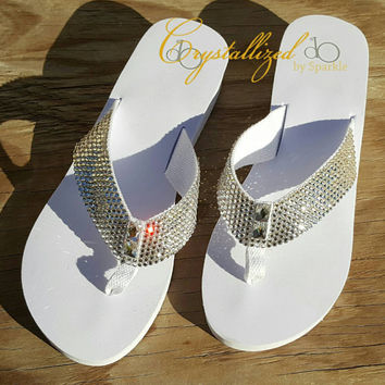 Stunning Swarovski Crystal Wedding Bridal Crystallized Wedge Flip Flops Bling Bling