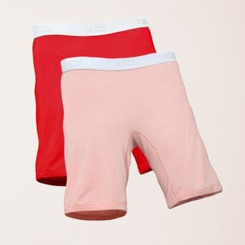 "2 Pack 9"" Boxer Briefs - MicroModal Red & Cheeky"