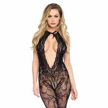 Lace Keyhole Bodystockings With Cheeky Cutout Bottom - Black - One Size