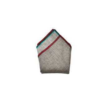 Reversible Linen Pocket Square in Mogao Cave with Monogram