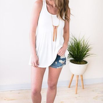 Stay in the Shade Racer Back Tank - Ivory