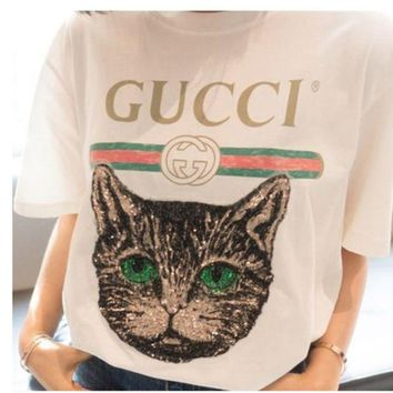 DCCKW2M GUCCI 2018 Catwalk Model T-Shirt Embroidery Sequin Cat Shirt Tunic Blouse Trending Top