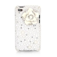 iSee Case 3D White Pearl Bling Rhinestone Crystal Jeweled Snap on Full Cover Case for iPod touch 4 4th Generation iTouch 4 (White Flower)