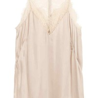 V-neck satin strappy top - Light beige - Ladies | H&M GB