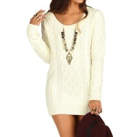 Sale-ivory Cable Knit Sweater Tunic