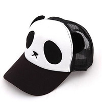 Cartoon Panda Cap Cotton Net Cap Baseball Cap For Womens Girls Mens Boys (Black)