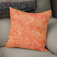 «Orange and red swirls doodle», Numbered Edition Coussin by Savousepate - From 25€ - Curioos