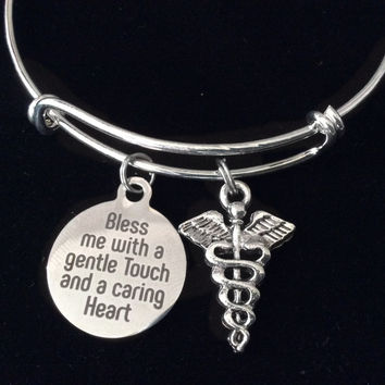 Bless Me with a Gentle Touch and Caring Heart Nurse Doctor Medical Expandable Charm Bracelet Silver Adjustable Bangle Gift