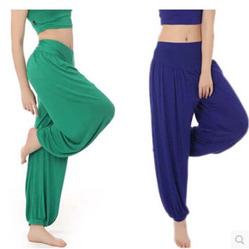 Plus Size 100%Cotton High Waist Women Harem Modal Dancing Trousers Loose Overall Wide Women Sport Tai Chi Pants Women Sweatpants