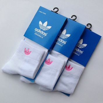 Adidas Woman Casual Sport Embroidery Thick Socks Stockings