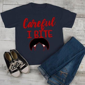Kids Funny Halloween T Shirt Careful I Bite Vampire Shirts Toddler Tee