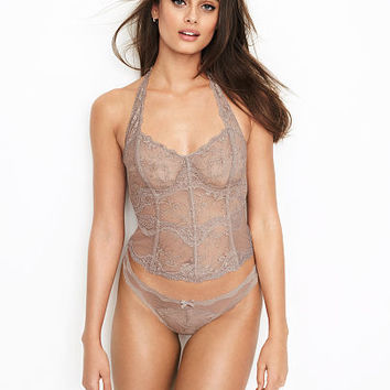 Lace & Dot Mesh Halter Bustier - Dream Angels - Victoria's Secret
