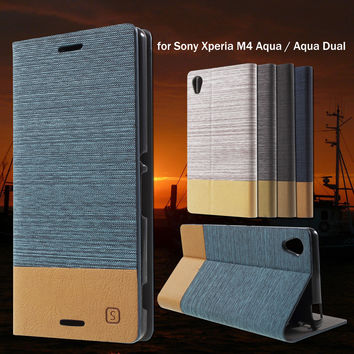 For Sony Xperia M 4 Aqua Aqua Dual Mobile phone Bag Stand PU Leather Cover with Card Slot Phone Cases for Sony Xperia M4 Aqua