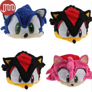 "New Sonic X FS Sonic The Hedgehog Fleece Cosplay Cap Anime Beanie Plush Hat Costumes Black Blue Pink Approx 6"" Tracking"