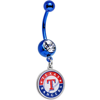 Licensed MLB Clear Gem Blue Anodized Texas Rangers Dangle Belly Ring