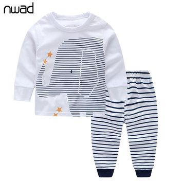 NWAD Baby Boy Clothes Infant Baby Boy Clothing Sets For Newborn Elephant print Long Sleeve Tops+Striped Pants Autumn FF013