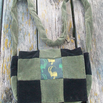 Black Green Recycled Corduroy Crossbody Purse Loki Long Strap