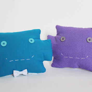 Robot head decorative pillows, Set of 2, Purple Blue, Plush Softies, Friendship, Geek Couple, Siblings, Best friend gift, Cute nursery decor