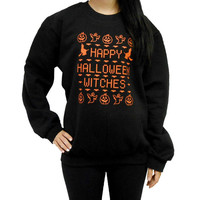 "Black ""HAPPY HALLOWEEN WITCHES"" Sweater"