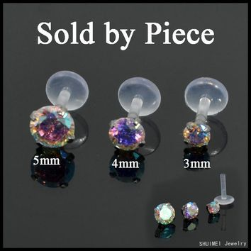 1PC Multicolor Gem Bioplast Labret Flexible Monroe Labret Lip Bar Ring Earring P