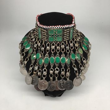 Afghan Kuchi Choker Tribal Green Turquoise Inlay Jingle Coins Necklace, Ck155