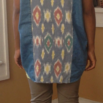 Vintage Bill Blass Tribal Aztec Cut off Denim Jean Frayed Vest sz M