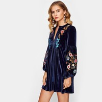 Tasseled Tie Bishop Sleeve Embroidered Velvet Dress