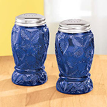 Cobalt Blue Depression Style Glass Salt and Pepper Shakers