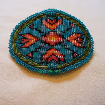 Native American Style loom beaded Sweetgrass Barrette