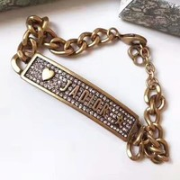 DIOR Stylish Woman Retro Temperament Diamonds Bracelet Hand Catenary