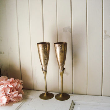 Silver Plate Champagne Flutes, Shabby Chic Vintage Silver and Gold Wine Glasses, Silver Plate and Gold Decorative Goblets, French Farmhouse
