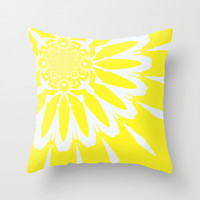 Yellow and White Modern Flower Throw Pillow by 2sweet4words Designs
