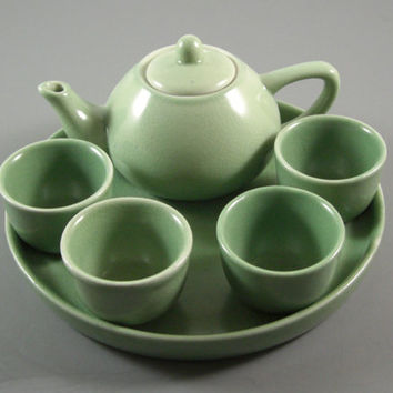 Japanese Porcelain Demitasse Mini Tea Saki Set // 7 Sage Green Pieces