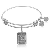 Expandable Bangle in White Tone Brass with U.S. Army Proud Mom Symbol