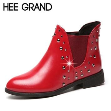 HEE GRAND Rivet Decorate Pointed Toe Woman Shoes Medium Heel Boots Fashion Slip On Women's Shoe XWX6033