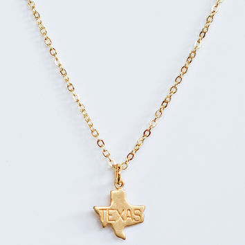 LUXE: State Love Gold Necklace-Texas