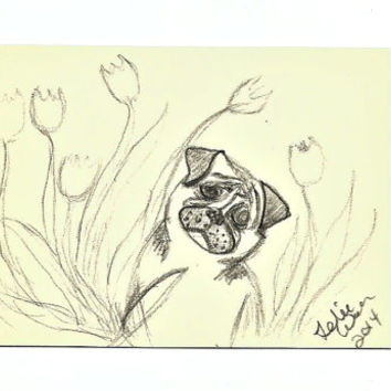 Pug in the Flowers ACEO Artist Trading Card Pencil Sketch SFA