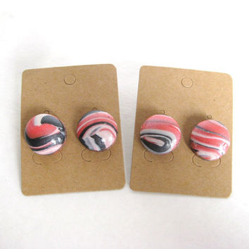 Marbled Clay Jewelry, Silver, Pink, White, Marbled Polymer Clay, Marbled Earrings, Marbled Jewelry, Ready To Ship, OOAK