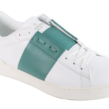 Valentino Womens White Blue Patent Leather Open Sneakers