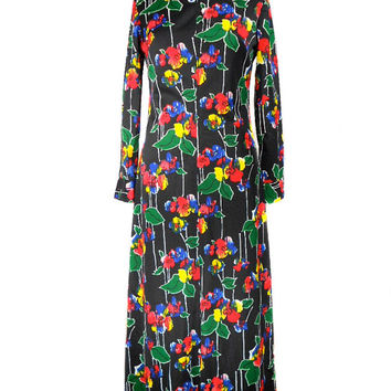 1970s Floral Maxi Dress / Chapter Two / Rainbow Flowers / Long Sleeve / Mock Turtleneck / Womens Vintage Dress / Size Medium
