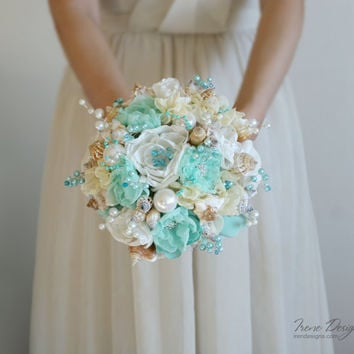 Seashells Wedding Bouquet. Turquoise and ivory wedding bouquet. Beach wedding bouquet. Beach wedding accessories