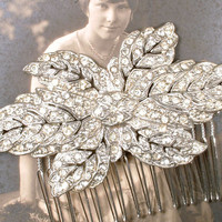 Hair Comb or Sash Brooch, ORIGINAL Art Deco Nouveau Pave Rhinestone Large Vintage Leaf Bridal Pin or 1920 1930 Wedding Hairpiece Rustic Chic