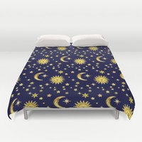 Sun, Moon & Stars Duvet Cover by aura2000