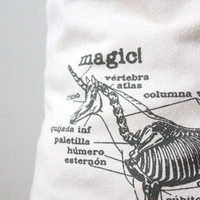 Unicorn Tote Bag -Unicorn Skeleton Screen Printed Tote Bag