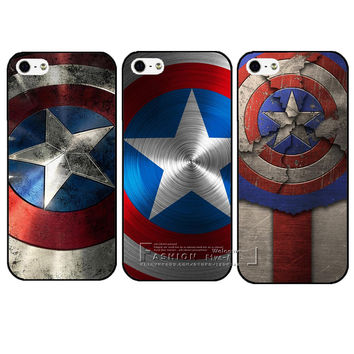 New Arrival Marvel Hero Captain America Hard Plastic Protective Back Case Cover For Apple iPhone 4 4S 5 5S SE 5C 6 6S 7 Plus