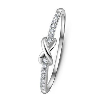 Cross infinity Crystal Wedding Ring
