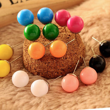 min $ 7 (mix order) Round candy sweet Elisha Japan Stud Earrings QQ candy circle earring simple fashion Earrings For Women