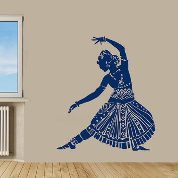 Indian Woman Wall Decals Belly Dance Girl Dancer Gym Dance Studio Vinyl Decal Sticker Home Interior Design Art Mural Wall Decor KG437